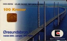 TARJETA TELEFONICA DE DINAMARCA. DD227A, Oeresundsbroen 09.2002 (TIRADA 29675). (128) - Dinamarca