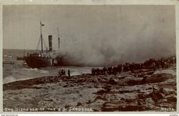 REAL PHOTO  POSTCARD THE DISASTER OF THE SS SARDENIA SARDINIA    MALTA - Malta