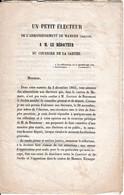 1845 PETIT ÉLECTEUR De MAMERS (72) Au Rédacteur Du COURRIER DE LA SARTHE - M. Gustave De BEAUMONT - Documents Historiques