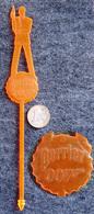 RARE Touilleur Ancien (stirring Stick) PERRIER / James BOND 007 - Orange Fluo - Mélangeurs à Boisson