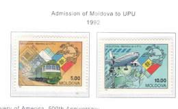 Moldavia PO 1992 Ammissione UPU Scott.66+67+See Scan On Scott.Page - Moldavia