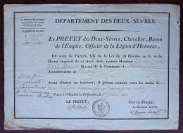 Commission D'adjoint Au Maire De Chantecorps Deux-Sèvres . Refus De Jean Houtin . 1813 . Signé Baron Dupin ? - Documents Historiques