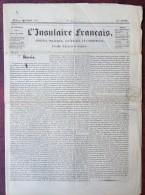 Corse . L'Insulaire Français . Journal Politique , Littéraire Et Commercial Publié à Bastia . 24 Octobre 1844 . Fiscaux - Journaux - Quotidiens