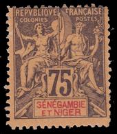 "FRANCIA COLONIE - ""SÉNÈGAMBIE ET NIGER"" 75 C. Viola Scuro / Rosso - 1903/1904 - FALSO - Nuovi"