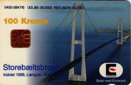 TARJETA TELEFONICA DE DINAMARCA. DD230A, Storebaeltsbroen 09.2002. (125) - Dinamarca