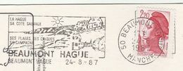 1987 FRANCE Cover SLOGAN Illus BEAUMONT HAGUE COAST, SUN, WEATHER  (postcard Goury LIGHTHOUSE, Map) Stamps To GB - France