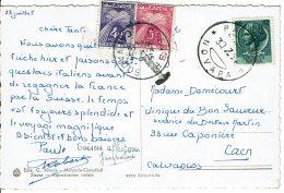 1954 - Carte Postale D'Italie Pour Caen - Taxée 9 Fr - 2 Tp Taxe Au Type Gerbes N° 84 Et 85 - Taxes