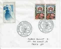 """1959 - Obl Temp. """"FLORALIES INTERNATIONALES"""" Au C.N.I.T. De PUTEAUX Sur Tp N° 1189 + Vignette Marianne De Gandon - Cachets Commémoratifs"""