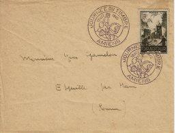 """1945 - Obl Temporaire """"JOURNEE DU TIMBRE"""" à Amiens - Tp N°742 - Cachets Commémoratifs"""