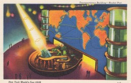 1939 New York World's Fair Exposition, Transportaion Building Rocket Port, C1939 Vintage Linen Postcard - Esposizioni