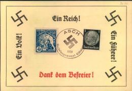 1938, Propagandakarte Anschluss Sudetenland, Stempel ASCH - Allemagne