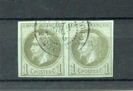 !!! PRIX FIXE : COLONIES GENERALES, PAIRE DU N°7 OBLIT CAD GUADELOUPE, SIGNEE GEO REINE - Napoleon III