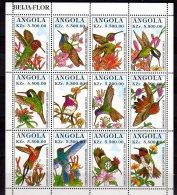 1996 Angola - Birds Of The World - Hummingbirds / Kolibries - Sheetlet Of 12v - MNH** Mi 1044/55 (bhs17) - Hummingbirds