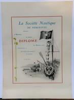 Affiche Originale: Diplôme De La Société Nautique Neuchâteloise  Vierge - Début Du XXème Siècle (37 X 27.5 Cm) Suisse - Diploma & School Reports