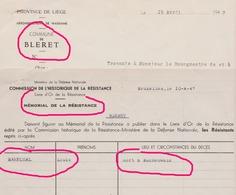 Mémorial De La Résistance Livre D'or Bleret Waremme Louis Maréchal Mort à Buchenwald - Alte Papiere