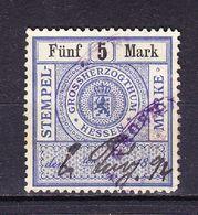 Stempelmarke, Grossherzogthum Hessen, 5 Mark (54735) - Gebührenstempel, Impoststempel