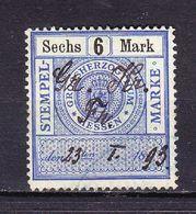 Stempelmarke, Grossherzogthum Hessen, 6 Mark (54736) - Gebührenstempel, Impoststempel