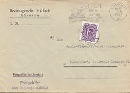 ÖSTERREICH NACHPORTO 1962 - 1,5 S Nachporto Auf Gerichtsbrief, Gel.v.Villach > Klagenfurt - Impuestos