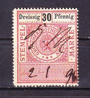 Stempelmarke, Grossherzogthum Hessen, 30 Pfg (54738) - Gebührenstempel, Impoststempel