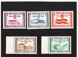 NEU855 ÖSTERREICH 1955 MICHL 1012-16 SATZ ** POSTFRISCH SIEHE ABBILDUNG - 1945-.... 2. Republik