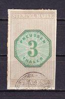 Stempelmarke, Preussen, 3 Thaler (54740) - Gebührenstempel, Impoststempel