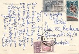 SPANIEN NACHPORTO 1987 - 1 Pst Nachporto + 1 + 1,5 Pst Auf Ak BARCELONA, Gel.v.Barcelona > Wien XXIII - Abarten & Kuriositäten