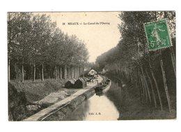 77 Meaux Le Canal De L' Ourcq Cpa Carte Animée Animation Péniche Cachet 1913 - Meaux