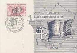 Carte  Maximum  1er   Jour    FRANCE   Centenaire  Du   Rattachement   De   SAINT  BARTHELEMY   1978 - Cartes-Maximum