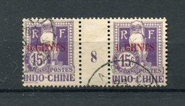 !!! PRIX FIXE : INDOCHINE, PAIRE DE TAXES N°22 AVEC MILLESIME 8 (1908) OBLITEREE - Indochine (1889-1945)