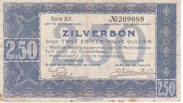 BILLETE DE HOLANDA DE 2 1/2 GULDEN DEL AÑO 1938  (BANKNOTE) - [2] 1815-… : Regno Dei Paesi Bassi