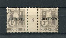 !!! PRIX FIXE : INDOCHINE, PAIRE DE TAXES N°28 AVEC MILLESIME 8 (1908) OBLITEREE - Indochine (1889-1945)