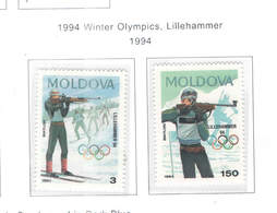 Moldavia PO 1994 Winter Olimpics Lillehammer   Scott.113+114+See Scan On Scott.Page - Moldavia