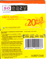 CYPRUS - So Easy By CYTAGSM Recharge Card 120 Days(thick Plastic) 20+3 Pounds, CN : 0105(large), Used - Cyprus