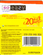 CYPRUS - So Easy By CYTAGSM Recharge Card 120 Days(thick Plastic) 20+3 Pounds, CN : 0105(small), Used - Cyprus