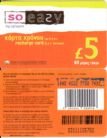 CYPRUS - So Easy By CYTAGSM Recharge Card 60 Days(thin Plastic) 5 Pounds, CN : 0311(large), Used - Cyprus