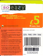 CYPRUS - So Easy By CYTAGSM Recharge Card 30 Days(thin Plastic) 5 Pounds, CN : 0108(large), Used - Cyprus