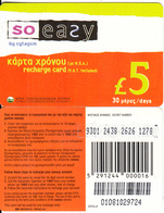 CYPRUS - So Easy By CYTAGSM Recharge Card 30 Days(thin Plastic) 5 Pounds, CN : 0108(small), Used - Cyprus