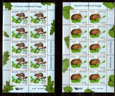 2017 Lithuania -Rote Buch Gefährdeter Tier Nagetiere / Birch Mouse + Dormouse  - Sheetlets Of 10v MNH** MI 1248/9 Zz17 - Lithuania