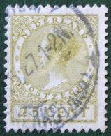 25 Ct Wilhelmina No Watermark NVPH 157 (Mi 158 A) 1924 -1925 1926 Gestempeld / USED NEDERLAND / NIEDERLANDE - Period 1891-1948 (Wilhelmina)