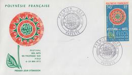 Enveloppe  FDC  1er  Jour  POLYNESIE   Festival  Des  Arts  Du  Pacifique  Sud  1972 - FDC