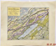 Carte Du Canton De Neuchâtel - Début Du XXème Siècle (33.5 X 27.5 Cm) Suisse - Jamais Pliée - Mapas Geográficas