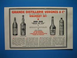 (1936) Grande Distillerie VERGNES & Cie à Vauvert (Gard) - Anis, Verveine, Cherry Brandy, Curaçao - Unclassified