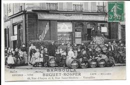 """VERSAILLES 78 : Café Bamboula """"Buguet Rosper"""" Angle Rue D'Anjou Et Médéric Vendanges 1909 - Bon état - Versailles"""