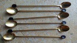 6 Longues Petites Cuillères Metal Doré Café Mazagran - Deco GRAIN DE CAFE Plastique 19cm Traces Oxydation - Deco Vintage - Cuillers