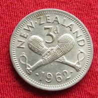 New Zealand 3 Pence 1962 KM# 25.2  Nova Zelandia Nuova Zelanda Nouvelle Zelande - Nouvelle-Zélande