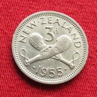 New Zealand 3 Pence 1955 KM# 25.1  Nova Zelandia Nuova Zelanda Nouvelle Zelande - Nouvelle-Zélande
