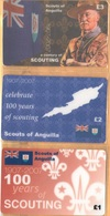 Anguilla - A Century Of Scouting 1907-2007, Scouts Of Anguilla, Set Of 3, Remote Memory, 1/2/3 £, Mint - Anguilla
