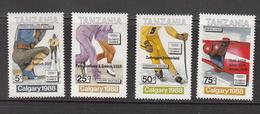 1989 Tanzania Winter Olympics Winners Skiing Skating Complete Set Of 4 MNH - Tansania (1964-...)