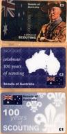 Australia - A Century Of Scouting 1907-2007, Scouts Of Australia, Set Of 3, Remote Memory, 1/2/3 £, Mint - Australia