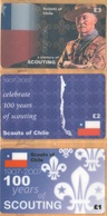 Chile - A Century Of Scouting 1907-2007, Scouts Of Chile, Set Of 3, Remote Memory, 1/2/3 £, Mint - Chile